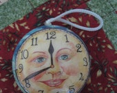 Vintage Man in the moon face clock Christmas time ornament paper mache