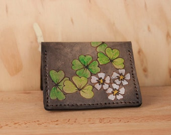 Small Credit Card Wallet - Lucky Pattern Front Pocket Wallet with Four Leaf Clovers and Shamrocks - Green and antique black