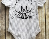Kitty Zombie (12m) Loverocky Cat Romper grey stripes Hipster Baby Clothing Alt Rockstar Halloween Babygrow vest by Loverocky