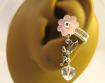 Fairy Ear Cuff - Pink Ear Cuff - Fairy Cuff Earring - Woodland Ear Cuff - Fantasy Ear Cuff - Bridal Cuff Earring - Pink Cuff Earring