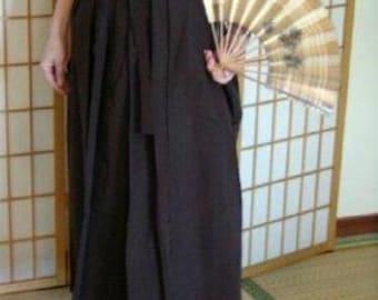 Hakama - Skirt Style - Vintage Japanese Hakama Brown or Gray Formal Traditional
