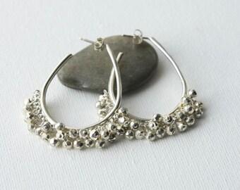 Big Silver Hoop Earrings, Faceted Silver Pyrite Earrings, Large Sterling Silver Hoops, Gemstone Cluster Earrings, Statement Earrings