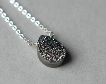 Silver Druzy Necklace, Druzy Teardrop Necklace, Druzy Drusy Jewelry, Druzy Pendant Necklace, Sterling Silver Chain, Metallic Jewelry