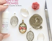 DIY Jewelry Kit 18x25 Oval Glass Photo Pendant Kit with Pendant Settings, Glamour Seal, and matching Ball Chains. 18x25mm Makes 25