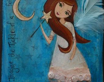 Fairy Art-  Children's Decor- Fairy Wall Decor- Kids Art on Canvas- Any Size You Pick