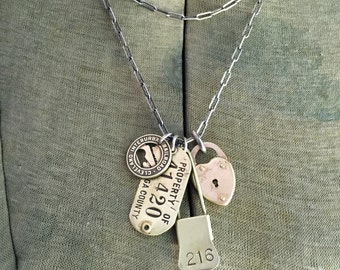 216 Cleveland Vintage Charm Necklace Token Heart Padlock Brass Tag Laundry Pin Sterling Silver Necklace Pick One
