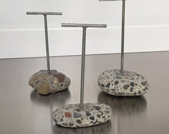 Earring Display Stand Trio T Rack Holder Lake Erie Beach Stone Concrete Aggregate Rock Jewelry Holder Show Display - Set of Three