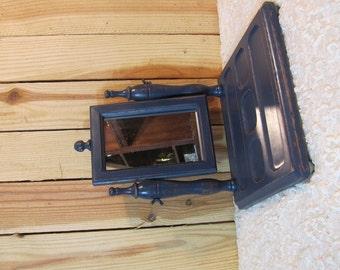 Dark Blue Mens Mirrored Vanity Tray Dresser Masculine Tray on sale