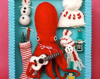 Print: Dress-Up Octopus - holiday christmas felt plush photo wall decor digital toy retro ukelele snowman red blue pink