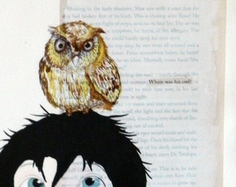 Original Mix Media Watercolor and Ink Painting - Where was his Owl?, Children room decoration, kid painting, kid with an owl on his head