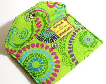 Card Pocket - Green Multi-Colored Paisley & Floral - Business Cards - Holder - Wallet - Gift