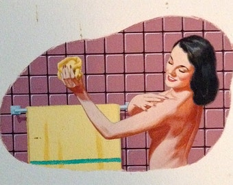 SaLe Vintage Illustration MIDCENTURY MODERN BATHROOM 4 Original Paintings Rare 1 of Kind 1950's Pinup at Home Modern for advertising  Pin-Up