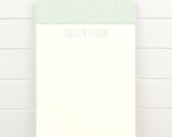 HERRINGBONE Personalized Notepad - Classic Modern Letterhead