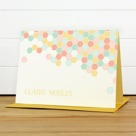 Custom Stationery / Custom Stationary - PAVE Custom Note Card Set - Bright Colorful Hexagon
