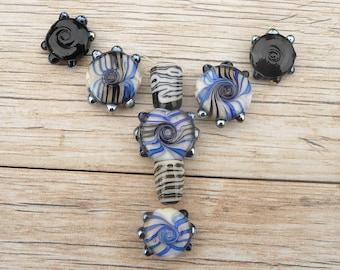 Handmade Lampwork Glass bead Set Cobalt Black White Pressed button Twisted Reactive glass Artisan bead Generationslampwork SRA