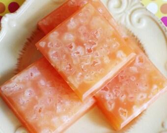 Salt Scrub Soap Bar Mango Peach - Soap Scrub, Solid Scrub, Dead Sea Salt, Orange, Scrub Bar, Teen Gift, Exfoliating, Skin Care, Gift For Mom