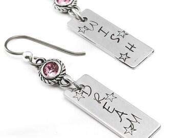 Pink Birthstone Earrings, Engraved Earrings, October Earrings, Rose Crystal Earrings, Dream Earrings