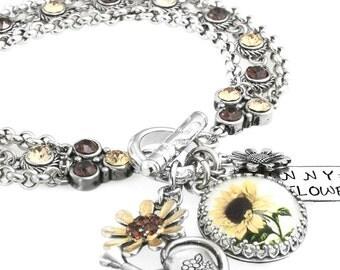 Sunflower Jewelry, Sunflower Bracelet, Charm Bracelet, Sunflower Crystal Bracelet, Fall Jewelry, Autumn Bracelet