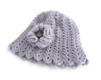 Crochet Cloche Hat - Crochet Beanie - Grey Mohair with Flower Brooch - CAMILLE