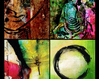 The ZEN Collection No.1 - SET of 4 -  5 x 7 Giclée prints from Original Mixed Media Paintings by Kathy Morton Stanion EBSQ