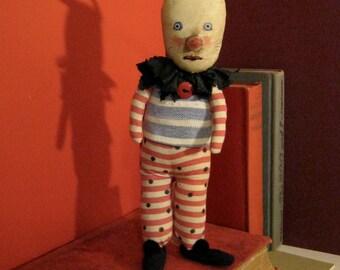 rabbit art doll ,sandy mastroni, Lots of Stripes, Clown, detailed stitching,nursery art, rabbit collector, whimsical wall art ,shelf art,