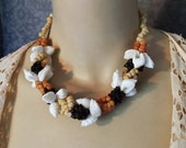 """RESERVED- 1940s, 1950s Intricate Shell Necklace, Earth Tones, Hawaiian, Tiki, VLV, 18"""""""