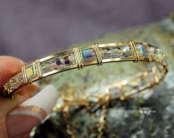 Dazzling Crystal AB Swarovski Wire Wrapped Bangle Bracelet in 14k GF or Sterling Silver Wire - Fine Jewelry