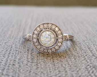 "Moissanite and Diamond Halo Antique Engagement Ring Victorian Style Art Deco Edwardian 14K White Gold ""The Hattie """