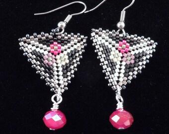 Triangle Earrings, Peyote Earrings, Delica Beaded Earrings, Dangle Earrings, Drop Earrings,
