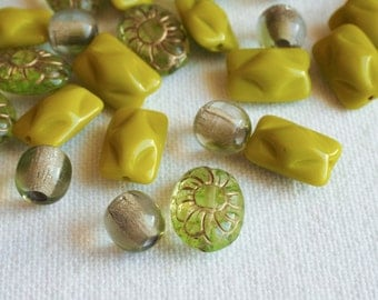 DESTASH 33 PCS Czech Glass Beads Mix  Olive Green Oval Flowers Raised Rectangle Rounds