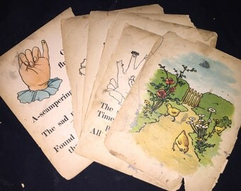 Finger Puppet Pages from Antique Book