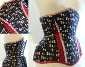 "SAMPLE SALE 22"" waist steel boned underbust corset in black Russian doll/ Matryoshka cotton"