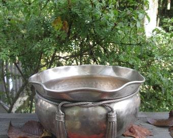 Round Vintage Brass Bowl - Large Hammered Brass Bowl/ Planter