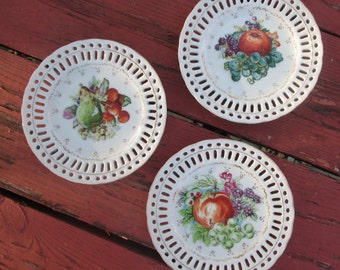 Three Porcelain Plates for Hanging - Collectible Fruit Plates - Christmas Gift