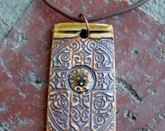 Rustic Amber Cross Porcelain Pendant