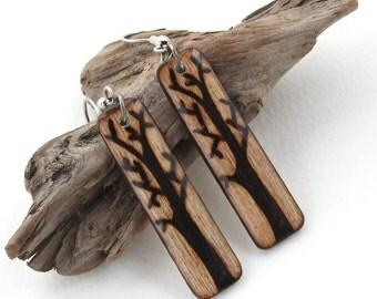 Long Dangle Earrings, Wood Rectangle Tree Earrings, Lightweight Earrings, Hypo Allergenic Earrings for Sensitive Ears, Earrings for Women