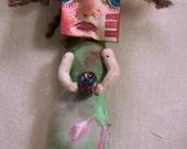 RESERVED Wiccan Rasta Medusa Mermaid Mixed Media Art Pin Brooch Gaia Altar Jewelry Funky Alternative Shabby Ocean Inspired Novelty Curious