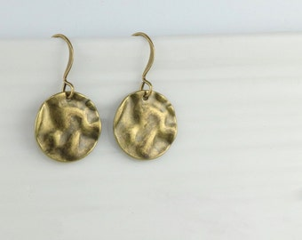Antique Gold Dangle Earrings, Hammered Antique Gold Earrings, Small Drop Earrings, Hammered Gold Earrings, Brass Earrings