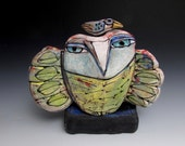 "Owl, handmade one of a kind art,""Owl Person and Little Bird in the Forest."" 5-1/2"" tall"
