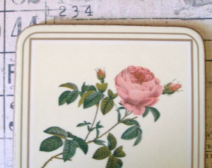 Shabby Cottage Rose floral Coasters Vintage Pimpernel home decor Set of 6 Gifts for Flower lover Wedding Gift