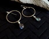 Labradorite Silver Earrings, Silver Hoop Earrings, Hoop Stone Earrings, Labradorite Jewelry, Silver Circle Hoop, Labradorite Jewelry