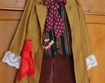 Mad Hatter Coat in Gold or Brown Custom Costume for Mad Hatter Alice in Wonderland Party