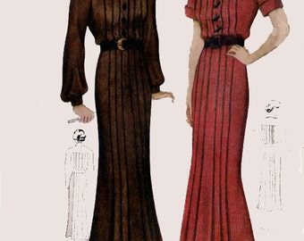 1930s Art Deco Shirtwaist Dress with Front & Back Pleats Simplicity 1875 Vintage 30s Swing Era Sewing Pattern  Bust 36 Hips 39
