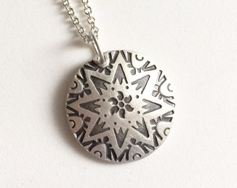 Stamped Mandala pendant in sterling silver, tribal, navajo inspired