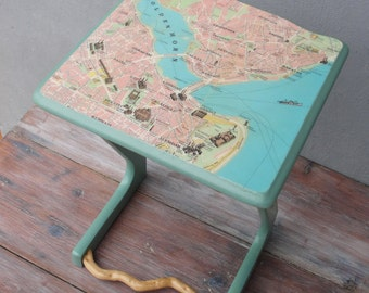 Vintage Map Side table, End table with Driftwood and Vintage Map of Istanbul, Wooden Furniture, Sea green Sidetable