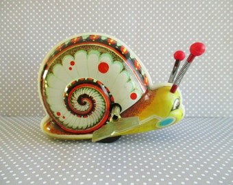 Vintage Wind Up Snail Tin Toy