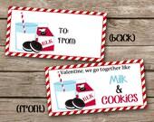 INSTANT DOWNLOAD - Valentine Treat Bag Topper - Milk And Cookies - Printable Digital File - Design 17