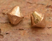 Two Bicone Shaped Gold Bronze Beads