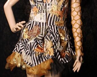 Fishnet Arm Warmers, Gold Asymmetrical  Sleeve, net croshet arm garter, Festival Fashion, fingerless glove, Wasteland, gothic lolita, boho