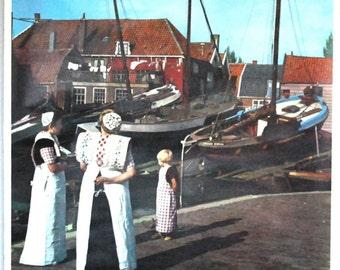 Netherlands Travel Poster, 1960s Wall Hanging, Original Vintage Print, Spakenburg Holland, Nautical Port, Folk Costumes, European Souvenir